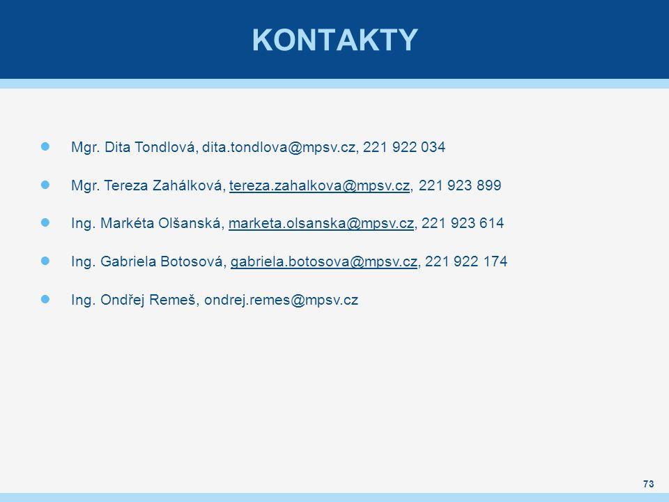 KONTAKTY Mgr.Dita Tondlová, dita.tondlova@mpsv.cz, 221 922 034 Mgr.