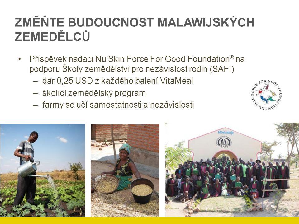 ZMĚŇTE BUDOUCNOST MALAWIJSKÝCH ZEMEDĚLCŮ Příspěvek nadaci Nu Skin Force For Good Foundation ® na podporu Školy zemědělství pro nezávislost rodin (SAFI) –dar 0,25 USD z každého balení VitaMeal –školící zemědělský program –farmy se učí samostatnosti a nezávislosti