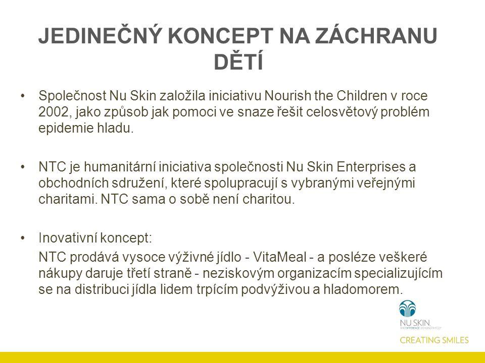 JEDINEČNÝ KONCEPT NA ZÁCHRANU DĚTÍ Společnost Nu Skin založila iniciativu Nourish the Children v roce 2002, jako způsob jak pomoci ve snaze řešit celosvětový problém epidemie hladu.