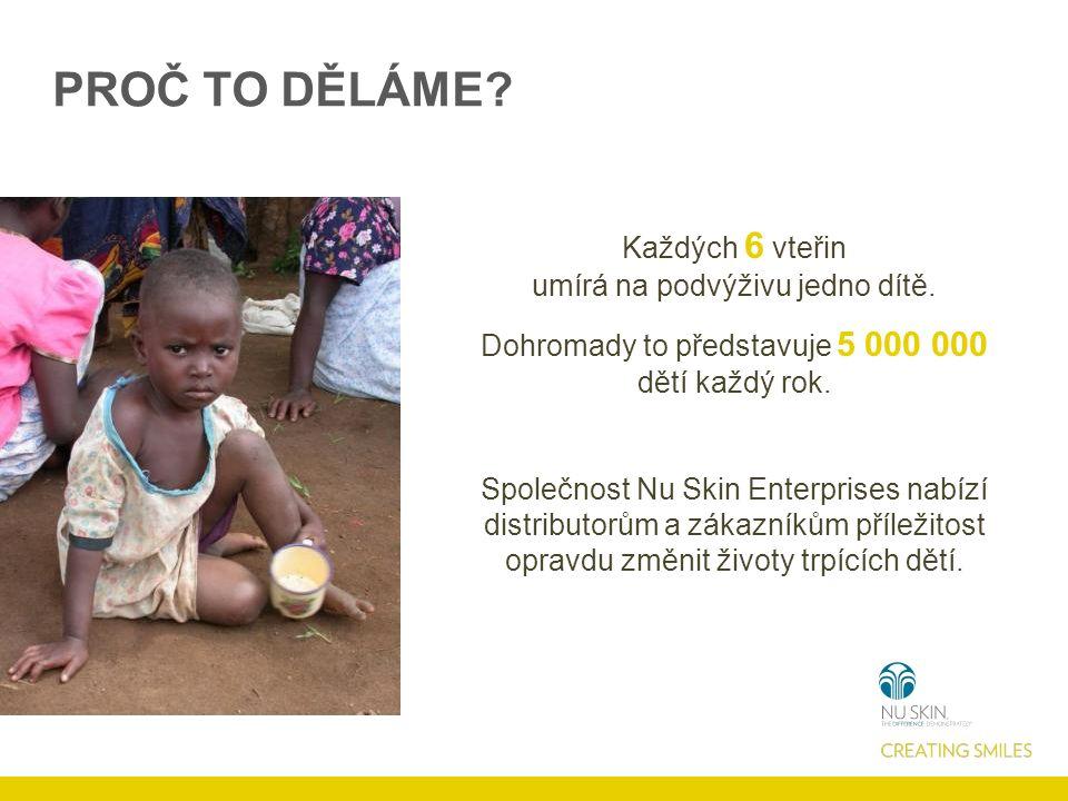 PROČ TO DĚLÁME. Každých 6 vteřin umírá na podvýživu jedno dítě.