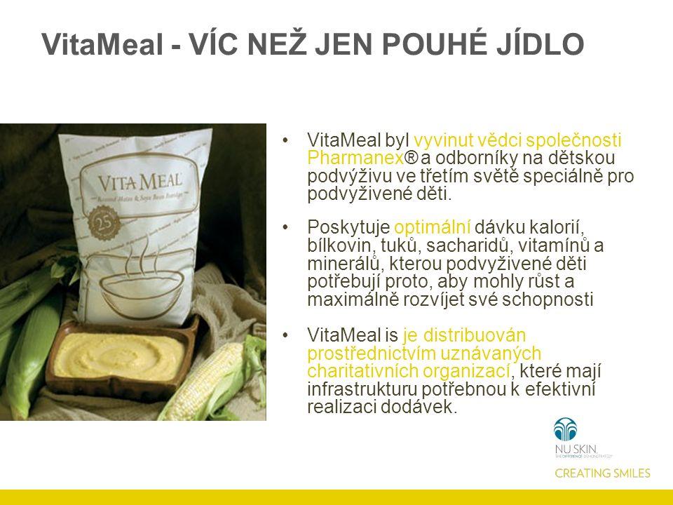 VitaMeal - VÍC NEŽ JEN POUHÉ JÍDLO VitaMeal byl vyvinut vědci společnosti Pharmanex® a odborníky na dětskou podvýživu ve třetím světě speciálně pro podvyživené děti.