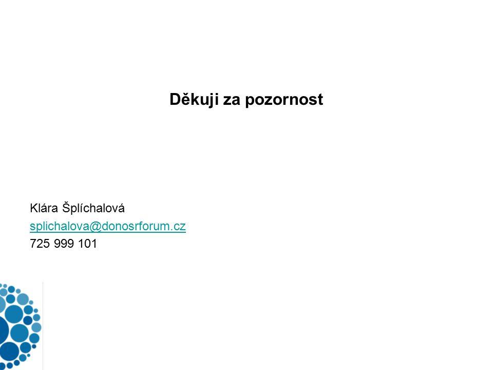 Děkuji za pozornost Klára Šplíchalová splichalova@donosrforum.cz 725 999 101