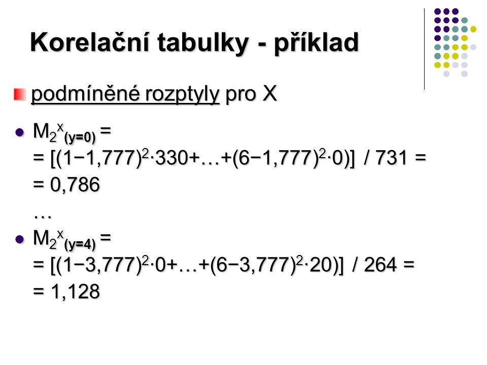 Korelační tabulky - příklad M 2 x (y=0) = M 2 x (y=0) = = [(1−1,777) 2 ·330+…+(6−1,777) 2 ·0)] / 731 = = 0,786 … M 2 x (y=4) = M 2 x (y=4) = = [(1−3,777) 2 ·0+…+(6−3,777) 2 ·20)] / 264 = = 1,128 podmíněné rozptyly pro X