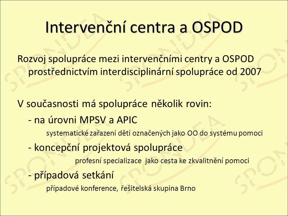 Intervenční centra a OSPOD Rozvoj spolupráce mezi intervenčními centry a OSPOD prostřednictvím interdisciplinární spolupráce od 2007 V současnosti má spolupráce několik rovin: - na úrovni MPSV a APIC systematické zařazení dětí označených jako OO do systému pomoci - koncepční projektová spolupráce profesní specializace jako cesta ke zkvalitnění pomoci - případová setkání případové konference, řešitelská skupina Brno