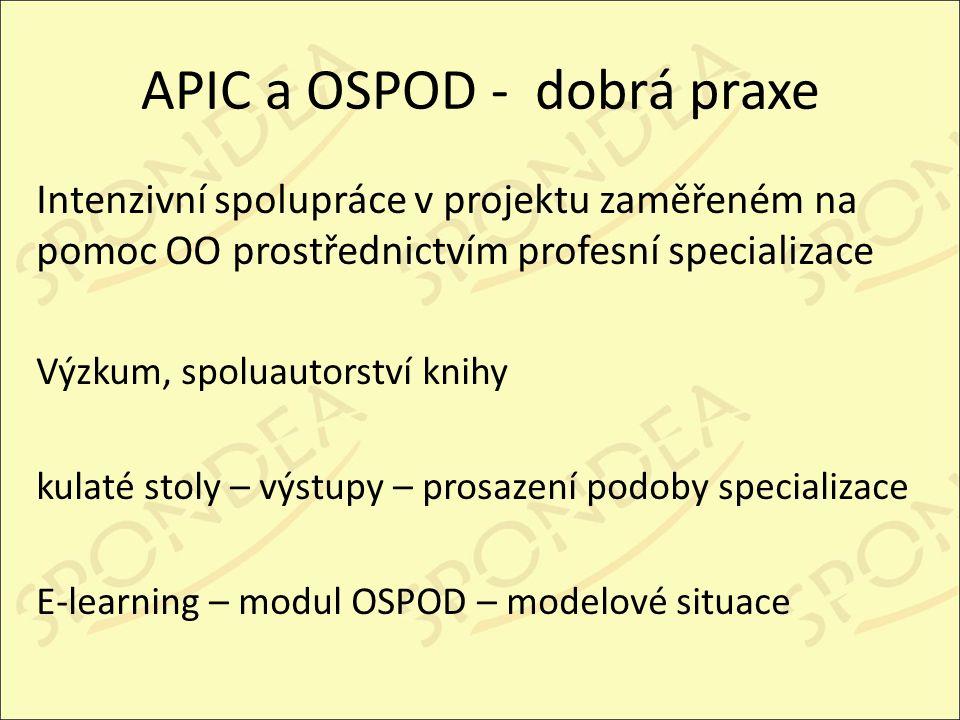 APIC a OSPOD - dobrá praxe Intenzivní spolupráce v projektu zaměřeném na pomoc OO prostřednictvím profesní specializace Výzkum, spoluautorství knihy kulaté stoly – výstupy – prosazení podoby specializace E-learning – modul OSPOD – modelové situace