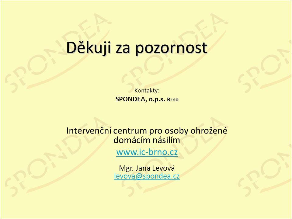 Děkuji za pozornost Kontakty: SPONDEA, o.p.s.
