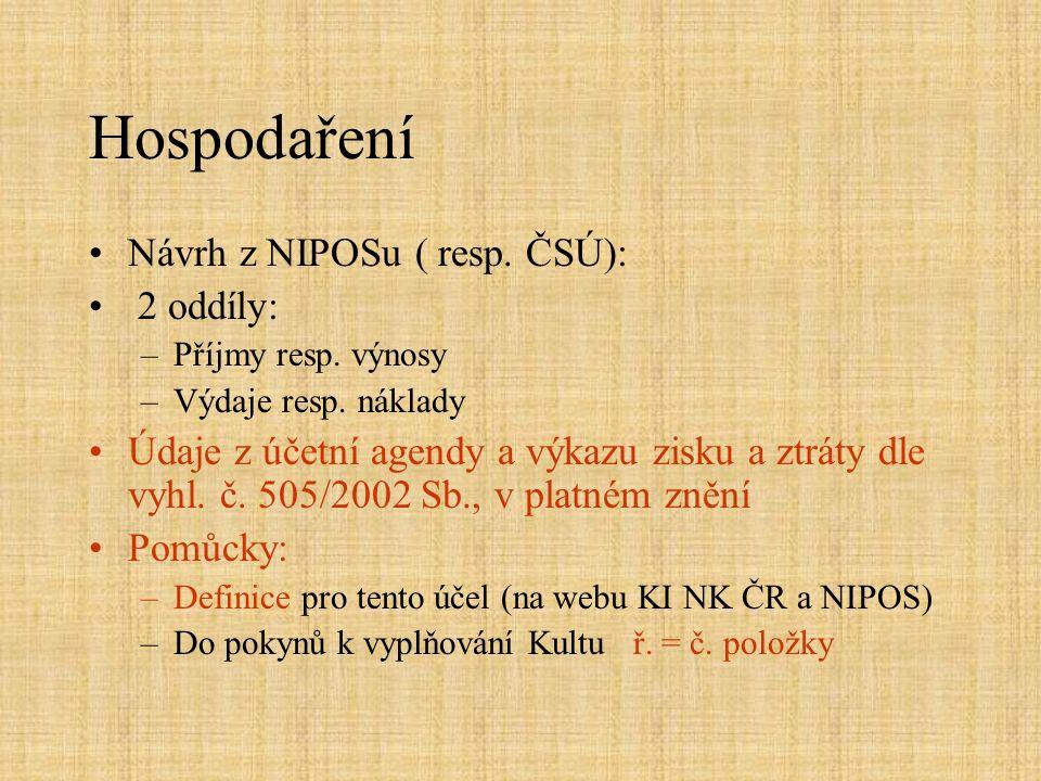 Hospodaření Návrh z NIPOSu ( resp. ČSÚ): 2 oddíly: –Příjmy resp.