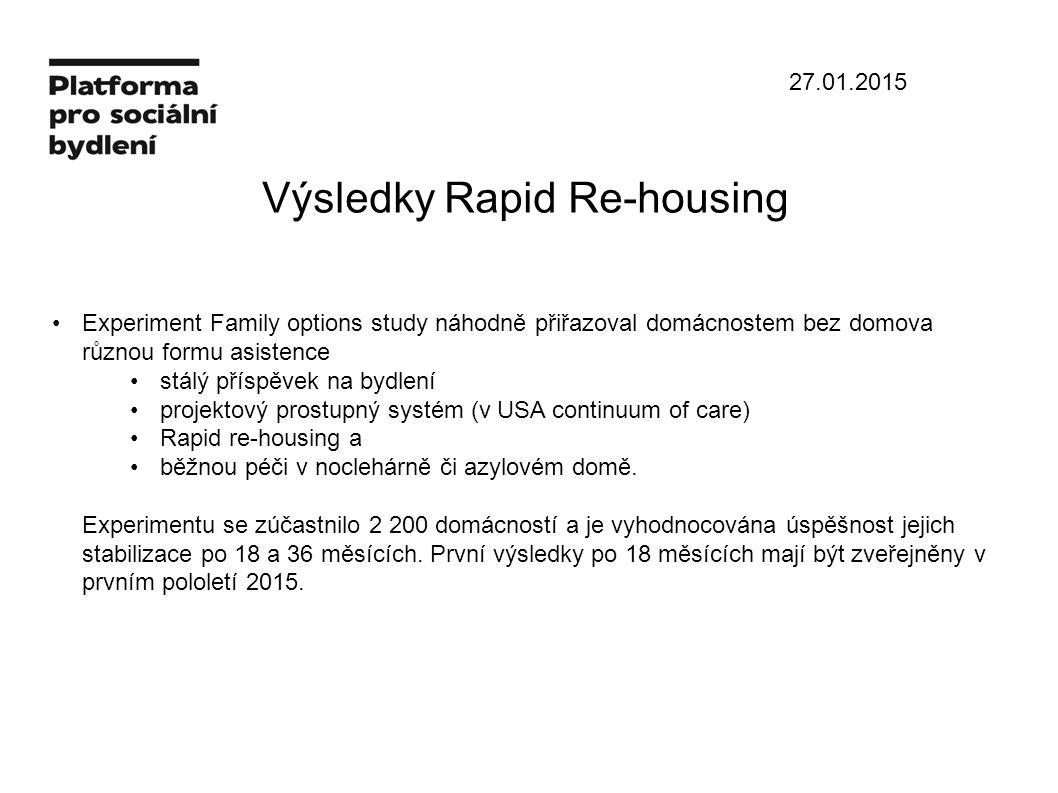 27.01.2015 Výsledky Rapid Re-housing Experiment Family options study náhodně přiřazoval domácnostem bez domova různou formu asistence stálý příspěvek na bydlení projektový prostupný systém (v USA continuum of care) Rapid re-housing a běžnou péči v noclehárně či azylovém domě.