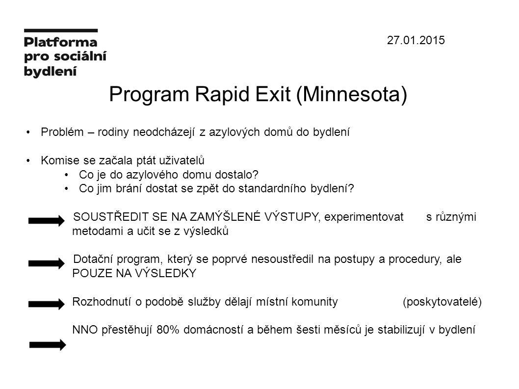 27.01.2015 Program Rapid Exit (Minnesota) Problém – rodiny neodcházejí z azylových domů do bydlení Komise se začala ptát uživatelů Co je do azylového domu dostalo.