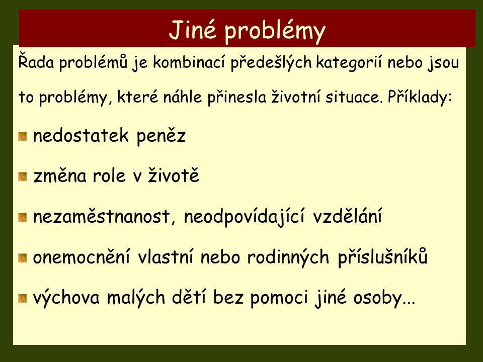 Řada problémů je kombinací předešlých kategorií nebo jsou to problémy, které náhle přinesla životní situace. Příklady: nedostatek peněz změna role v ž