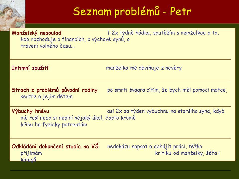 Seznam problémů - Petr Manželský nesoulad1-2x týdně hádka, soutěžím s manželkou o to, kdo rozhoduje o financích, o výchově synů, o trávení volného čas