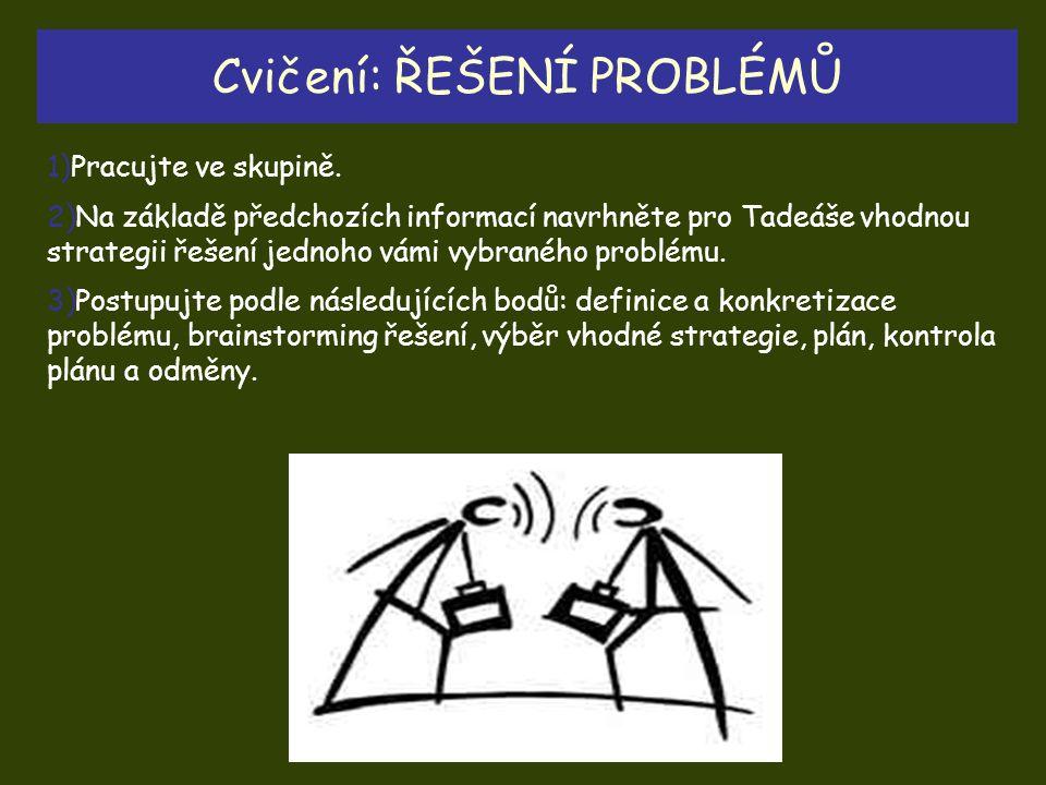Cvičení: ŘEŠENÍ PROBLÉMŮ 1)Pracujte ve skupině. 2)Na základě předchozích informací navrhněte pro Tadeáše vhodnou strategii řešení jednoho vámi vybrané