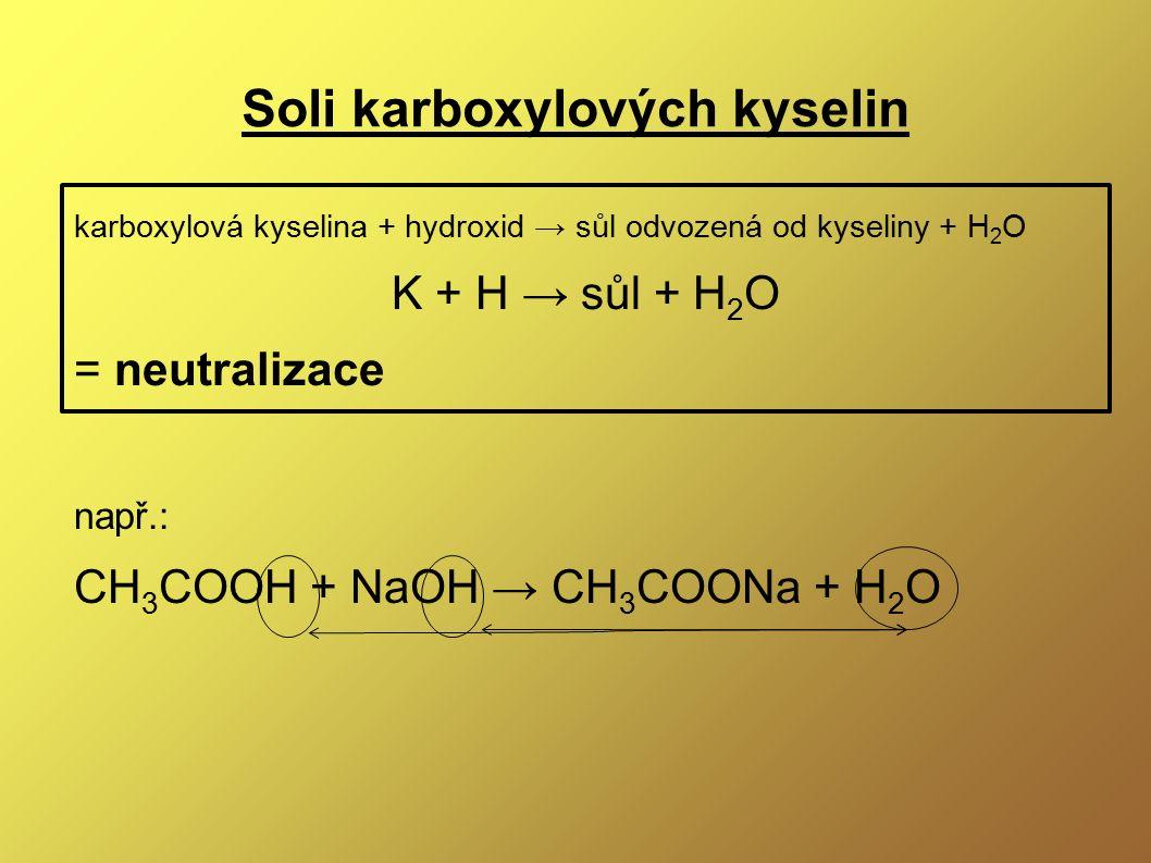 Soli karboxylových kyselin karboxylová kyselina + hydroxid → sůl odvozená od kyseliny + H 2 O K + H → sůl + H 2 O = neutralizace např.: CH 3 COOH + Na