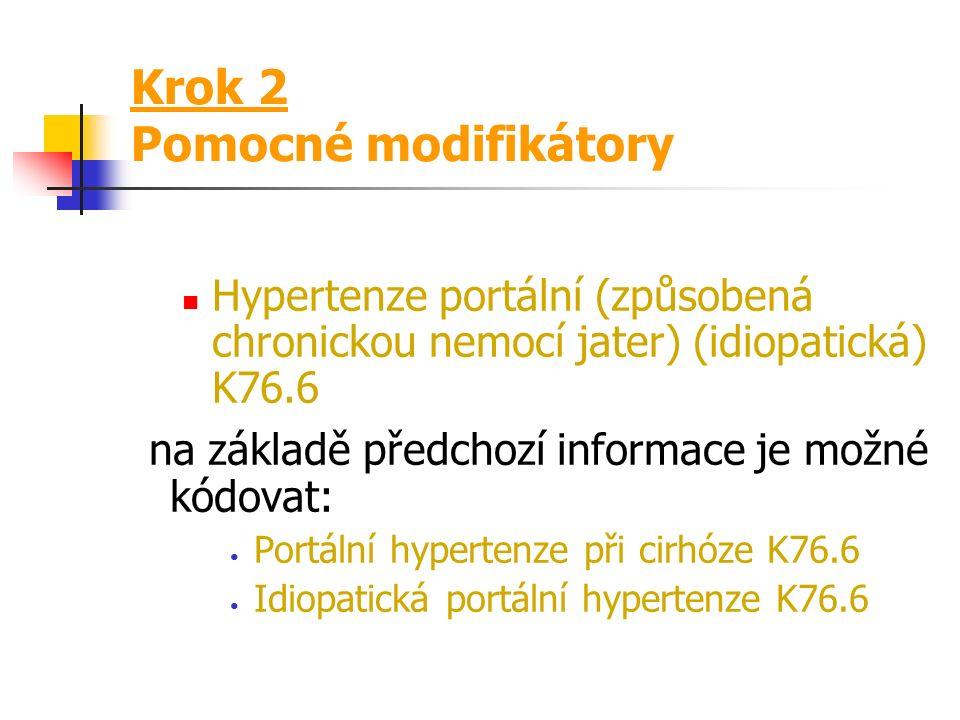 Krok 2 Dva typy modifikátorů Pomocné modifikátory jsou uvedeny v závorce ( ) nerozhodují o přiřazení kódu; pomáhají v orientaci Základní modifikátory