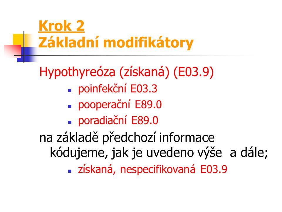 Krok 2 Pomocné modifikátory Hypertenze portální (způsobená chronickou nemocí jater) (idiopatická) K76.6 na základě předchozí informace je možné kódova