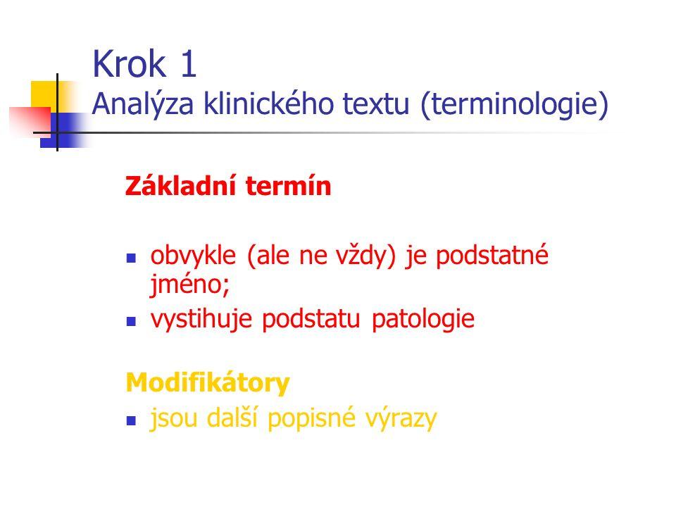 Krok 1 Analýza klinického textu (terminologie) Základní termín obvykle (ale ne vždy) je podstatné jméno; vystihuje podstatu patologie Modifikátory jsou další popisné výrazy