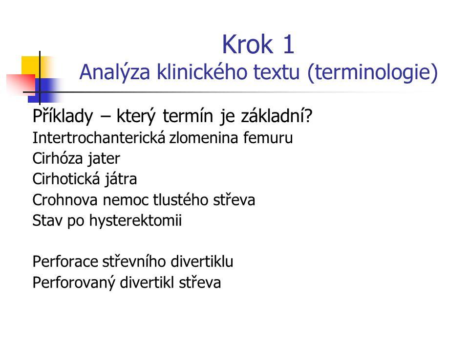 Krok 1 Analýza klinického textu (terminologie) Základní termín obvykle (ale ne vždy) je podstatné jméno; vystihuje podstatu patologie Modifikátory jso
