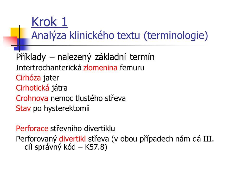 Krok 1 Analýza klinického textu (terminologie) Příklady – který termín je základní? Intertrochanterická zlomenina femuru Cirhóza jater Cirhotická játr