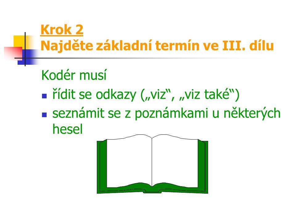 Krok 2 Najděte základní termín ve III.