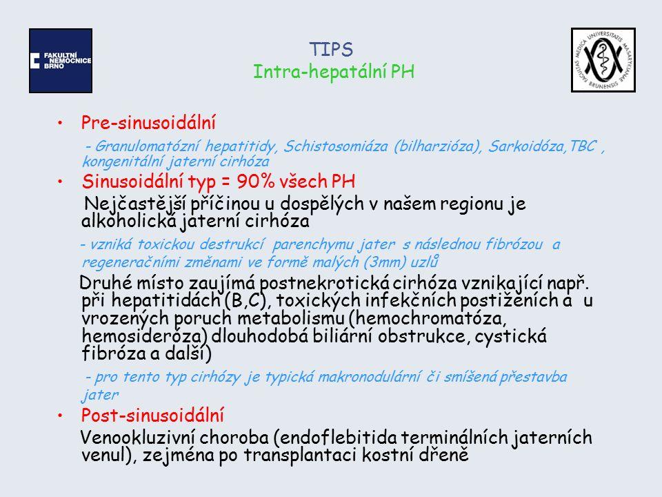 TIPS Intra-hepatální PH Pre-sinusoidální - Granulomatózní hepatitidy, Schistosomiáza (bilharzióza), Sarkoidóza,TBC, kongenitální jaterní cirhóza Sinus