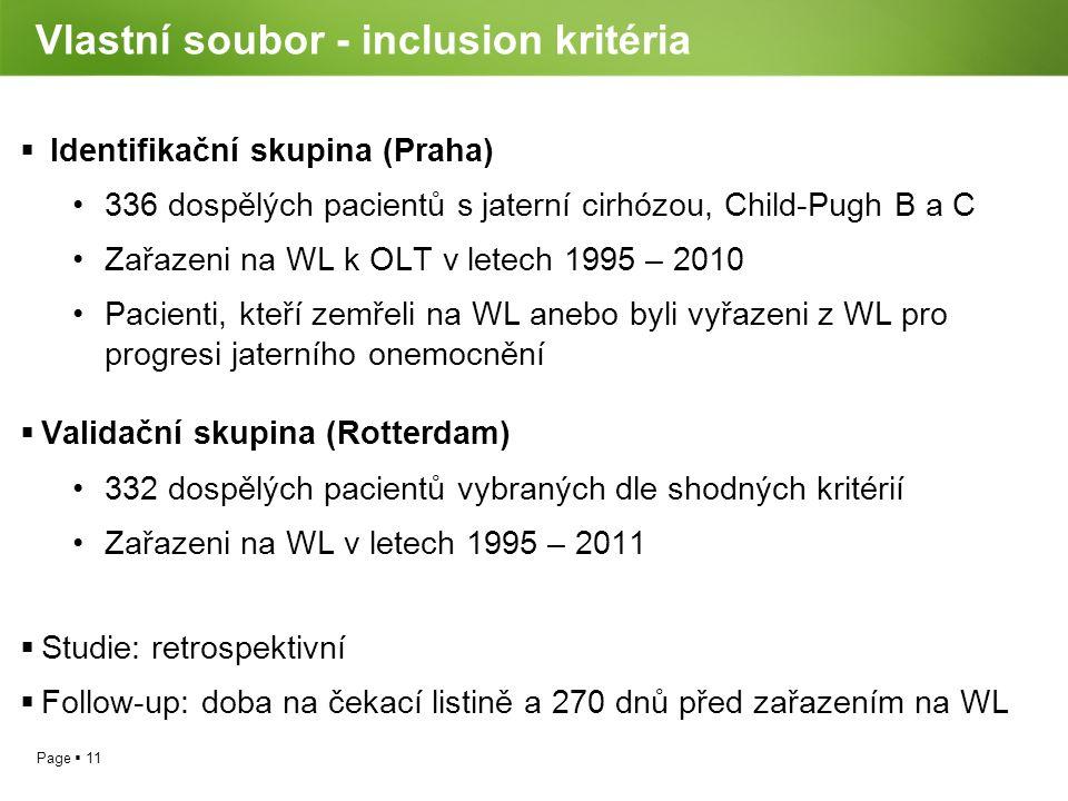 Page  11 Vlastní soubor - inclusion kritéria  Identifikační skupina (Praha) 336 dospělých pacientů s jaterní cirhózou, Child-Pugh B a C Zařazeni na