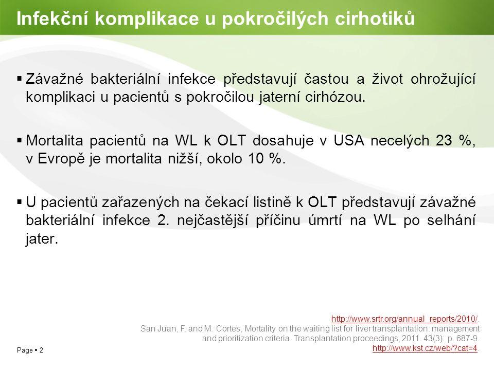 Page  3 Predisponující faktory infekce u jaterní cirhózy  Pokročilost jaterní dysfunkce dle skóre Child-Pugha  Proteinová a energetická malnutrice a katabolismus Útlum aktivity retikuloendotelového systému Dysfunkce fagocytární schopnosti neutrofilů Abnormality nespecifické humorální imunity Porucha buněčně zprostředkované imunity Snížená opsonizační aktivita séra v důsledku snížené hladiny komplementu  Bakteriální translokace  Iatrogenní faktory