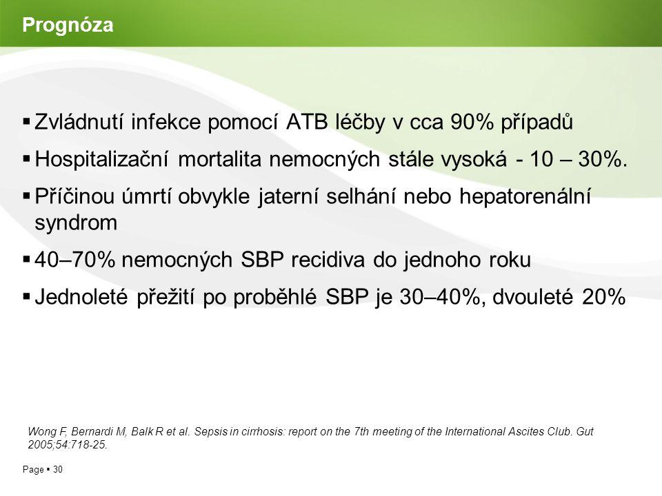 Page  30 Prognóza  Zvládnutí infekce pomocí ATB léčby v cca 90% případů  Hospitalizační mortalita nemocných stále vysoká - 10 – 30%.  Příčinou úmr