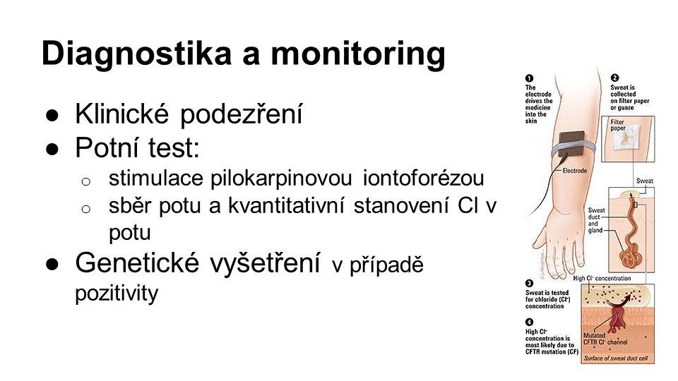 Diagnostika a monitoring ●Klinické podezření ●Potní test: o stimulace pilokarpinovou iontoforézou o sběr potu a kvantitativní stanovení Cl v potu ●Genetické vyšetření v případě pozitivity