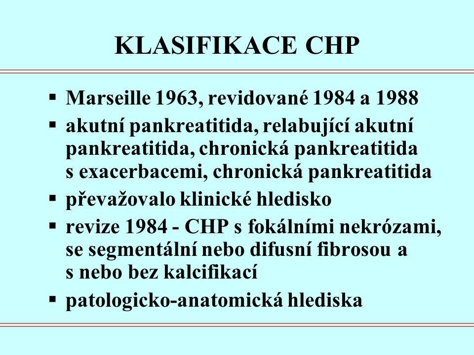 KLASIFIKACE CHP  Marseille 1963, revidované 1984 a 1988  akutní pankreatitida, relabující akutní pankreatitida, chronická pankreatitida s exacerbacemi, chronická pankreatitida  převažovalo klinické hledisko  revize 1984 - CHP s fokálními nekrózami, se segmentální nebo difusní fibrosou a s nebo bez kalcifikací  patologicko-anatomická hlediska