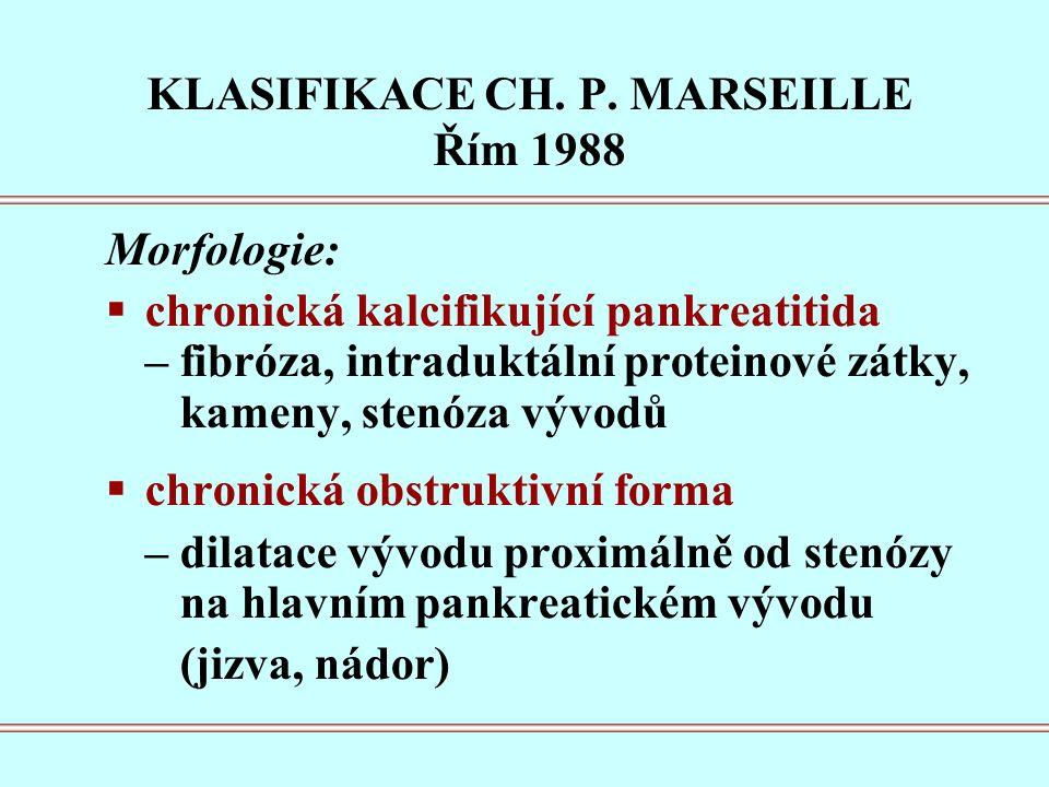 Morfologie:  chronická kalcifikující pankreatitida – fibróza, intraduktální proteinové zátky, kameny, stenóza vývodů  chronická obstruktivní forma – dilatace vývodu proximálně od stenózy na hlavním pankreatickém vývodu (jizva, nádor) KLASIFIKACE CH.