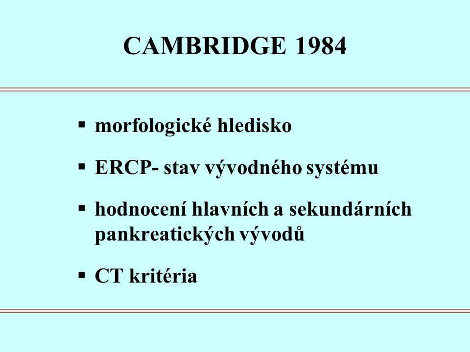 CAMBRIDGE 1984  morfologické hledisko  ERCP- stav vývodného systému  hodnocení hlavních a sekundárních pankreatických vývodů  CT kritéria