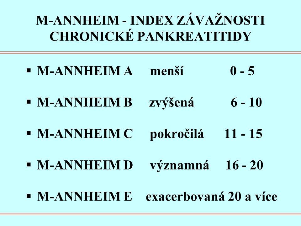 M-ANNHEIM - INDEX ZÁVAŽNOSTI CHRONICKÉ PANKREATITIDY  M-ANNHEIM A menší 0 - 5  M-ANNHEIM B zvýšená 6 - 10  M-ANNHEIM C pokročilá 11 - 15  M-ANNHEIM D významná 16 - 20  M-ANNHEIM E exacerbovaná 20 a více