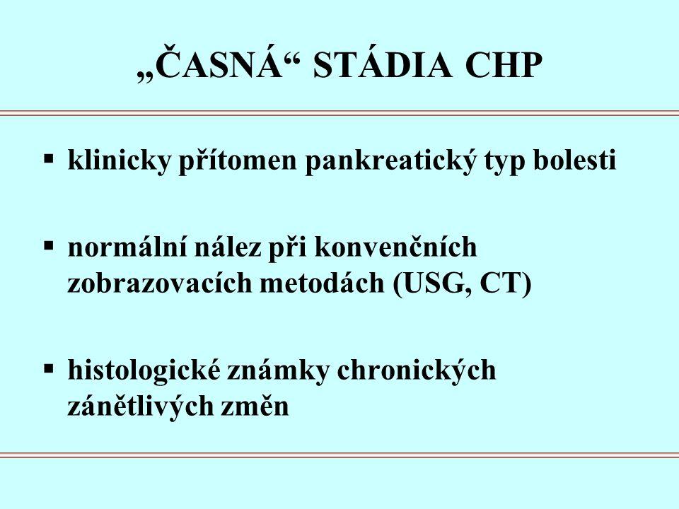 """""""ČASNÁ STÁDIA CHP  klinicky přítomen pankreatický typ bolesti  normální nález při konvenčních zobrazovacích metodách (USG, CT)  histologické známky chronických zánětlivých změn"""