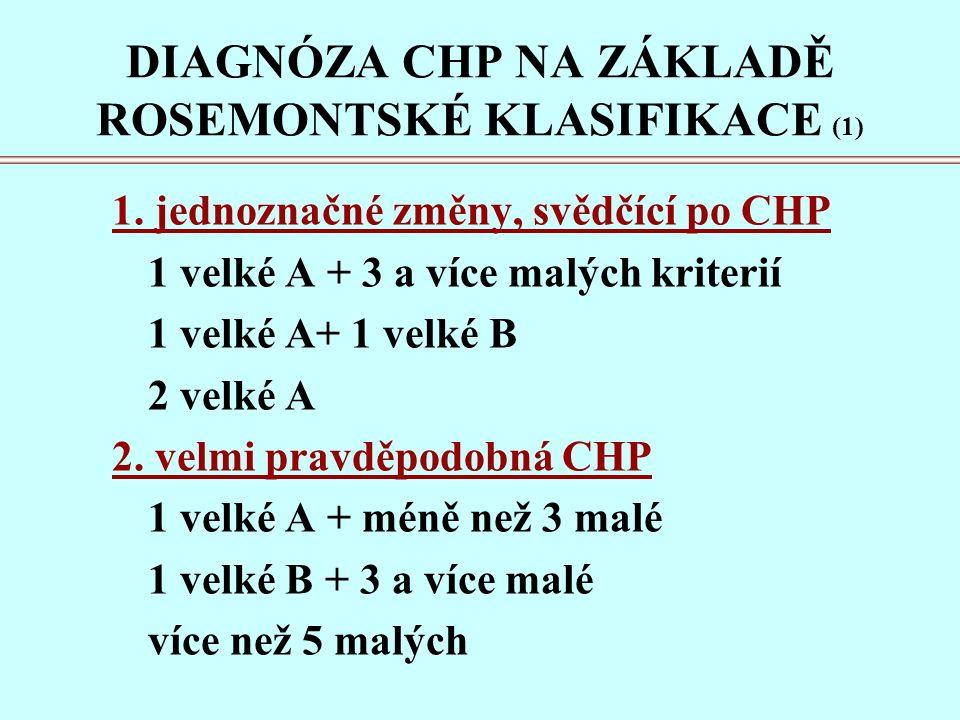 DIAGNÓZA CHP NA ZÁKLADĚ ROSEMONTSKÉ KLASIFIKACE (1) 1.