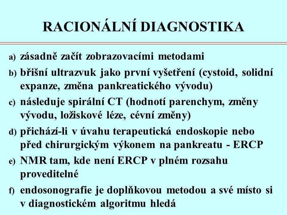 RACIONÁLNÍ DIAGNOSTIKA a) zásadně začít zobrazovacími metodami b) břišní ultrazvuk jako první vyšetření (cystoid, solidní expanze, změna pankreatického vývodu) c) následuje spirální CT (hodnotí parenchym, změny vývodu, ložiskové léze, cévní změny) d) přichází-li v úvahu terapeutická endoskopie nebo před chirurgickým výkonem na pankreatu - ERCP e) NMR tam, kde není ERCP v plném rozsahu proveditelné f) endosonografie je doplňkovou metodou a své místo si v diagnostickém algoritmu hledá