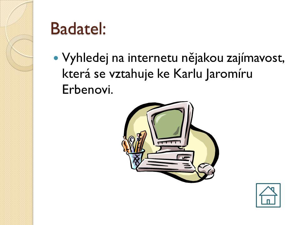 Spisovatel: Vyhledej na internetu, jaké pohádky K.