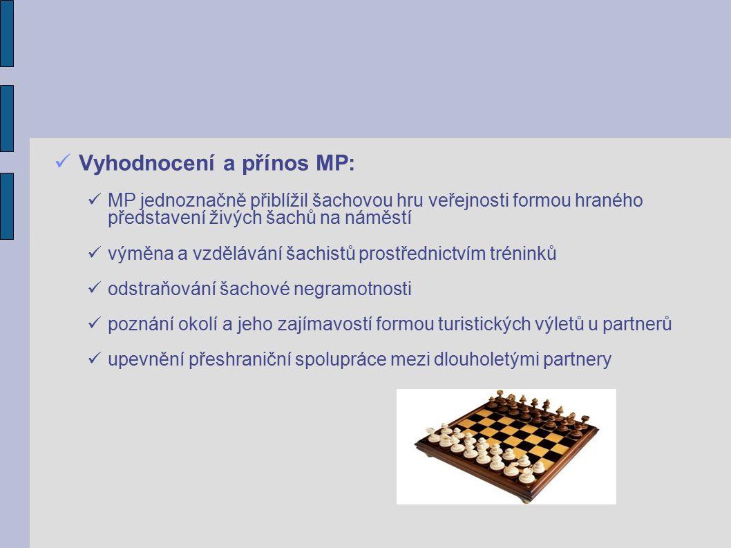 Vyhodnocení a přínos MP: MP jednoznačně přiblížil šachovou hru veřejnosti formou hraného představení živých šachů na náměstí výměna a vzdělávání šachistů prostřednictvím tréninků odstraňování šachové negramotnosti poznání okolí a jeho zajímavostí formou turistických výletů u partnerů upevnění přeshraniční spolupráce mezi dlouholetými partnery