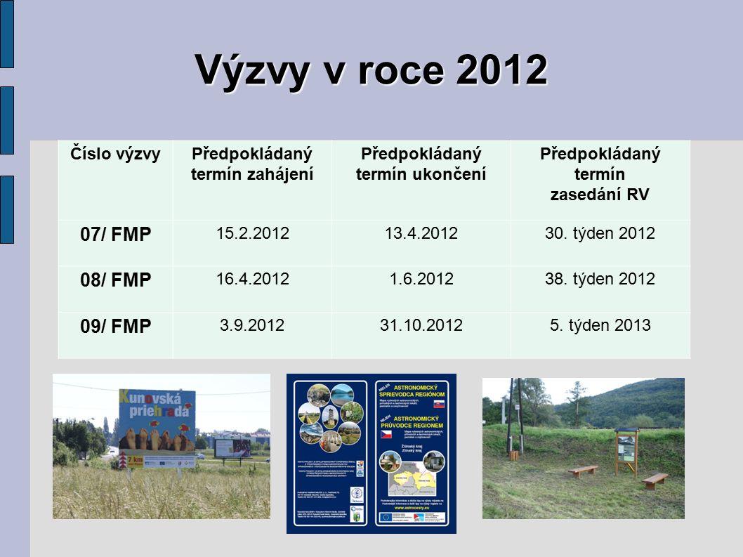 Výzvy v roce 2012 Číslo výzvyPředpokládaný termín zahájení Předpokládaný termín ukončení Předpokládaný termín zasedání RV 07/ FMP 15.2.201213.4.201230.