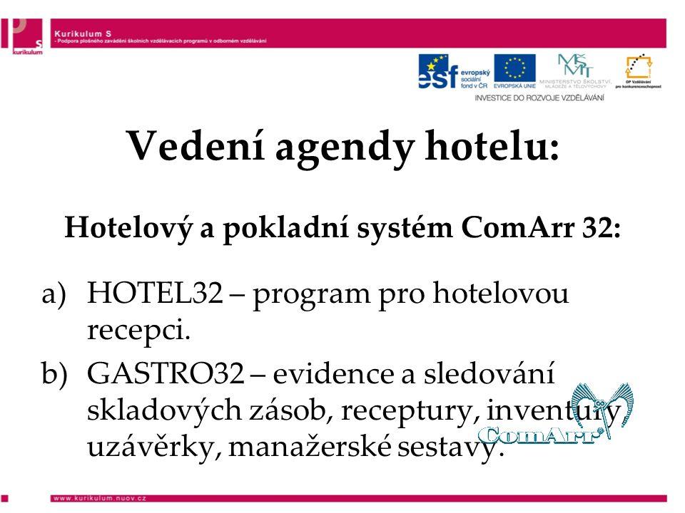 Vedení agendy hotelu: Hotelový a pokladní systém ComArr 32: a)HOTEL32 – program pro hotelovou recepci.