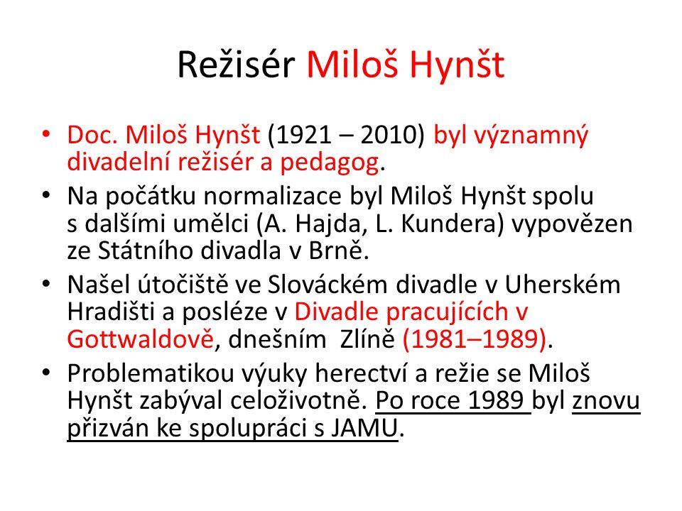 Režisér Miloš Hynšt Doc. Miloš Hynšt (1921 – 2010) byl významný divadelní režisér a pedagog.