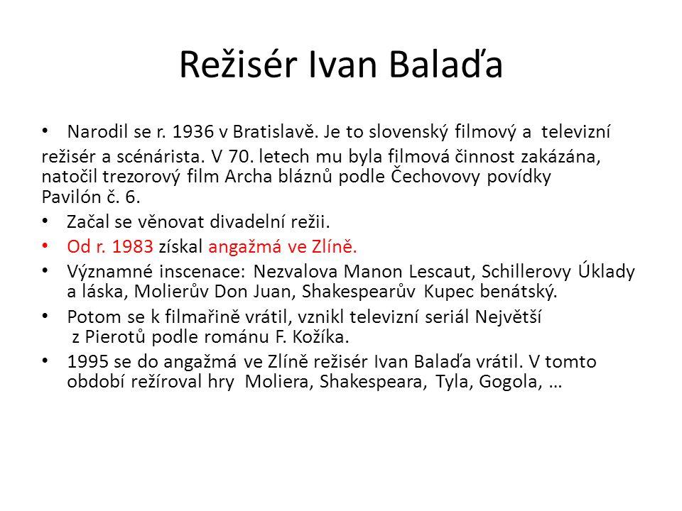 Režisér Ivan Balaďa Narodil se r. 1936 v Bratislavě.