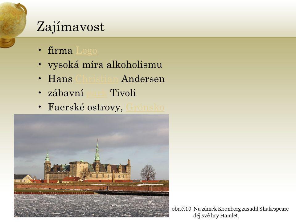 Zajímavost firma LegoLego vysoká míra alkoholismu Hans Christian AndersenChristian zábavní park Tivolipark Faerské ostrovy, GrónskoGrónsko obr.č.10 Na zámek Kronborg zasadil Shakespeare děj své hry Hamlet.