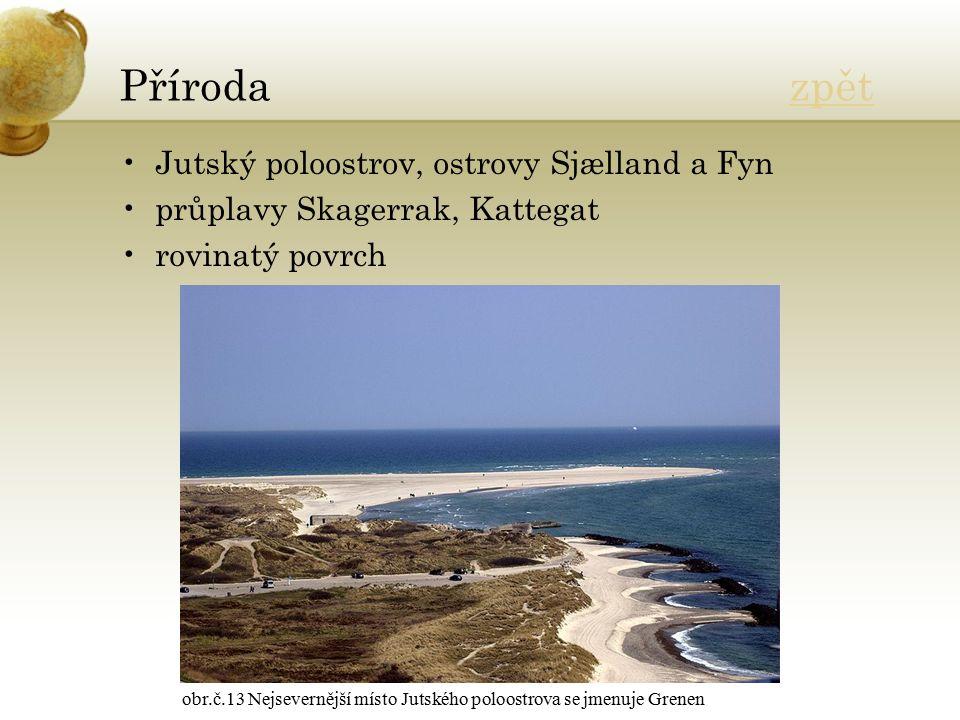 Příroda zpětzpět Jutský poloostrov, ostrovy Sjælland a Fyn průplavy Skagerrak, Kattegat rovinatý povrch obr.č.13 Nejsevernější místo Jutského poloostrova se jmenuje Grenen