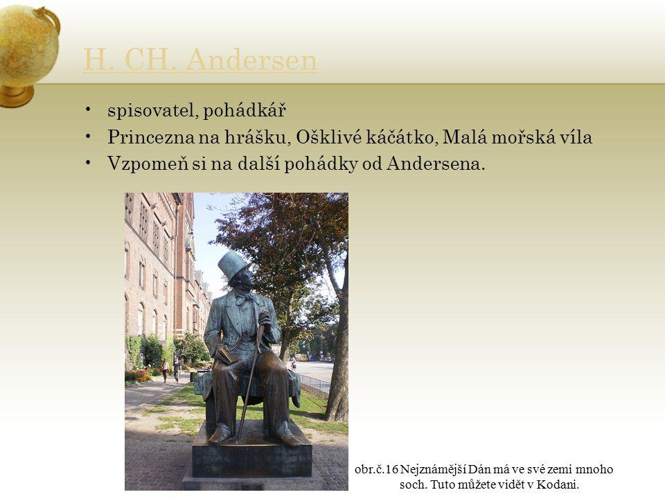H. CH. Andersen spisovatel, pohádkář Princezna na hrášku, Ošklivé káčátko, Malá mořská víla Vzpomeň si na další pohádky od Andersena. obr.č.16 Nejznám