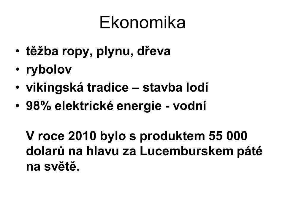 Ekonomika těžba ropy, plynu, dřeva rybolov vikingská tradice – stavba lodí 98% elektrické energie - vodní V roce 2010 bylo s produktem 55 000 dolarů na hlavu za Lucemburskem páté na světě.
