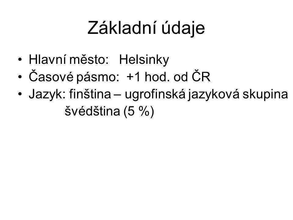 Základní údaje Hlavní město: Helsinky Časové pásmo: +1 hod.