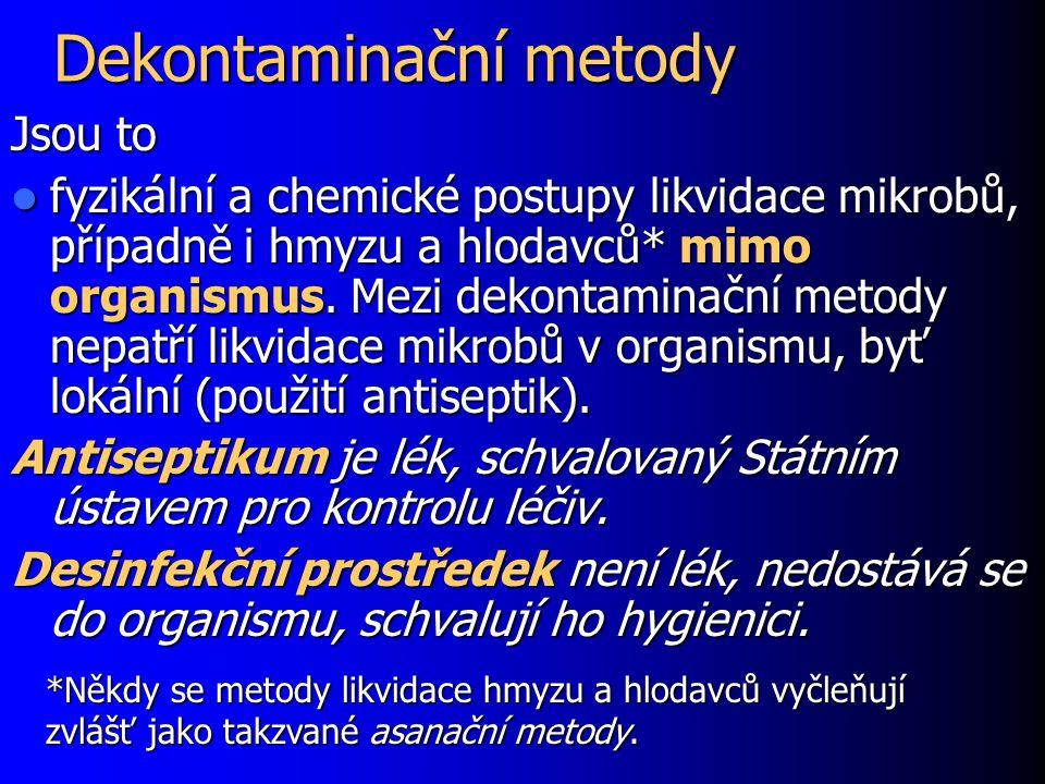Dekontaminační metody Jsou to fyzikální a chemické postupy likvidace mikrobů, případně i hmyzu a hlodavců* mimo organismus.