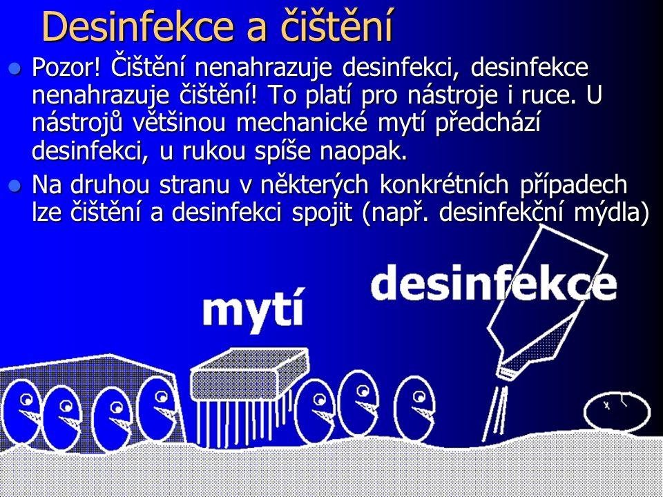 Desinfekce a čištění Pozor. Čištění nenahrazuje desinfekci, desinfekce nenahrazuje čištění.