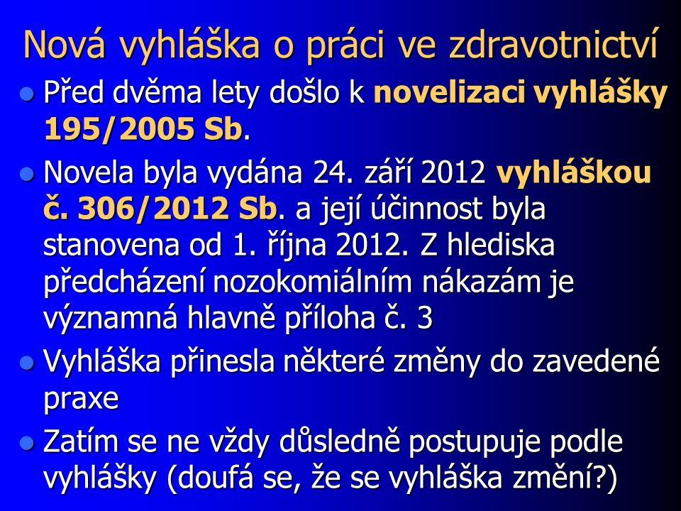 Nová vyhláška o práci ve zdravotnictví Před dvěma lety došlo k novelizaci vyhlášky 195/2005 Sb.