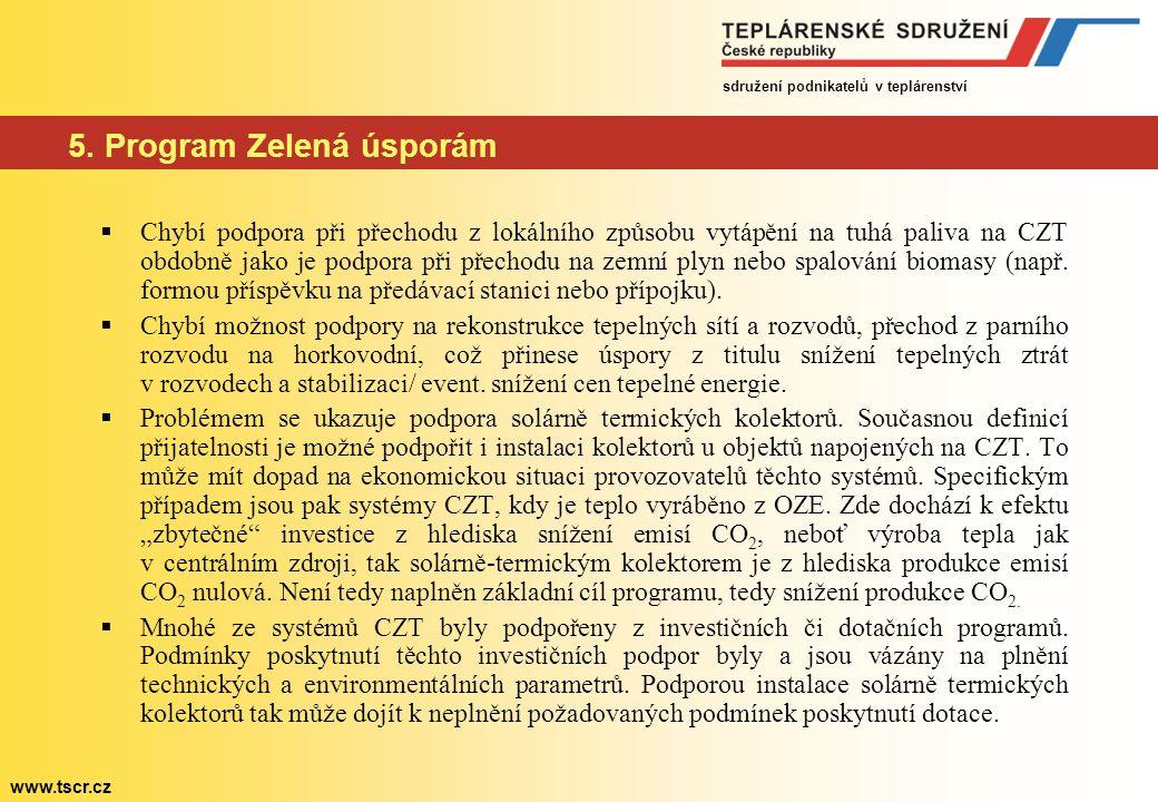 sdružení podnikatelů v teplárenství www.tscr.cz 5. Program Zelená úsporám  Chybí podpora při přechodu z lokálního způsobu vytápění na tuhá paliva na